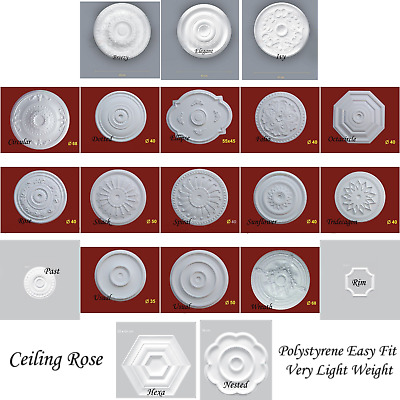 Ceiling Rose Polystyrene Easy Fit Weight Starting from £7.99 Nextday Delivery