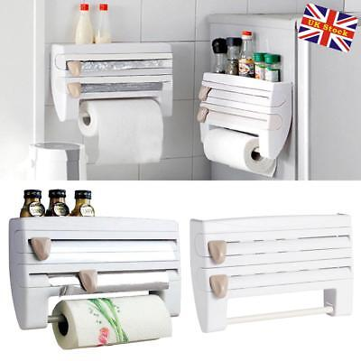 4-in-1 Kitchen Roll Dispenser Cling Film Tin Foil Towel Holder Rack Wall Mounted