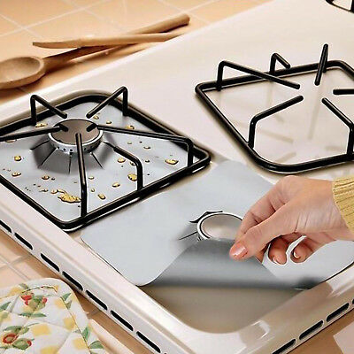 2/4x Reusable Gas Stove Top Burner Protector Liner Pad Cover Kitchen Cleaning UK