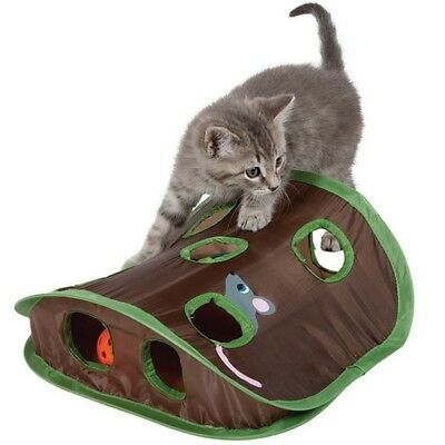Cat Mice Toy Hide & Seek Game Collapsible Puzzle Exercise Toy 9 Holes Pet Toys