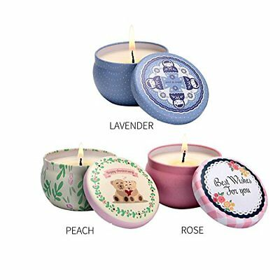 Scented Candles Set, Rose, Lavender and Peach, 2.5oz each 100% Soy Wax 3 Packs