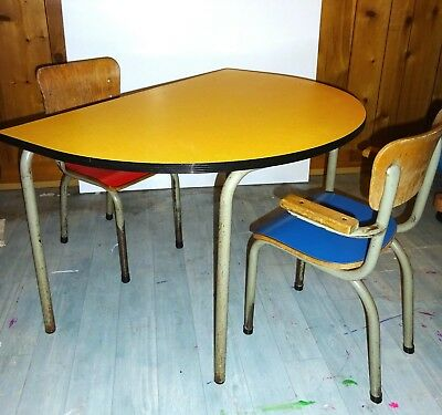 Lot Table 2 Chaises Enfant Vintage