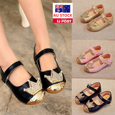 Kids Toddler Girl's Crystal Ankle Strappy Soft Flat Sandals Party Princess Shoes