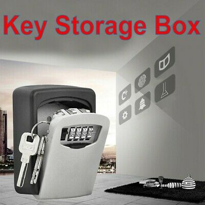 Outdoor Key Lock Box Safe Storage Wall Mounted 4 Digit Secure Lock Home Garage I