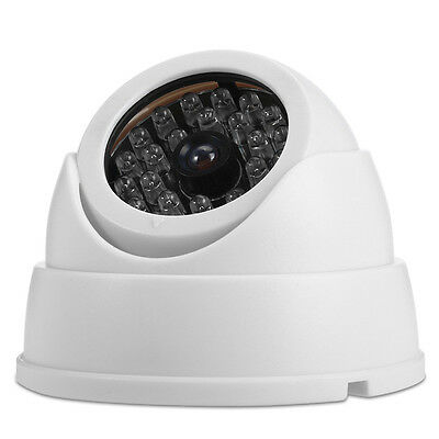 White Dummy Surveillance Security Part Dome Camera w/ 30 Flashing LED Ligh-,