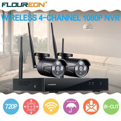 4CH Wireless CCTV 1080P DVR Video Recorder Wifi WLAN 720P HD Camera Security Kit