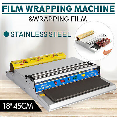 """18"""" Food Tray Film Wrapper Wrapping Machine W/Film Sealer Stock Stainless Steel"""