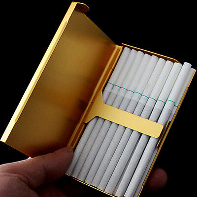 Gold Thin Slim Aluminum Wire Drawing 20 Pc Cigarette Hard Box Case Holder-,