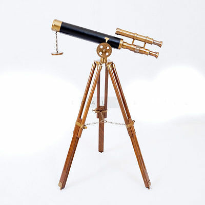 Nautical Double Barrel Harbour Brass Telescope With Tripod