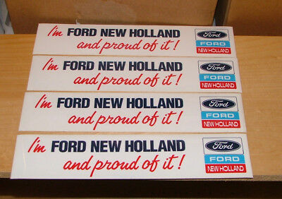 Lot Of ( 4 ) Vintage, I'm Ford New Holland And Proud Of It Bumper Stickers