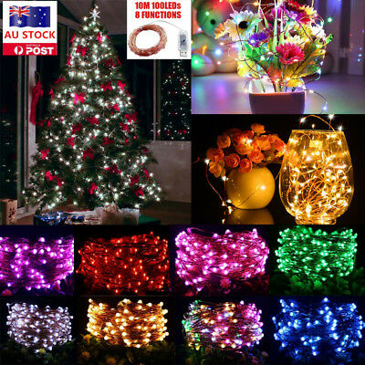10M 100LEDs 8 Function Copper Wire Fairy String Light USB Christmas Party Decor