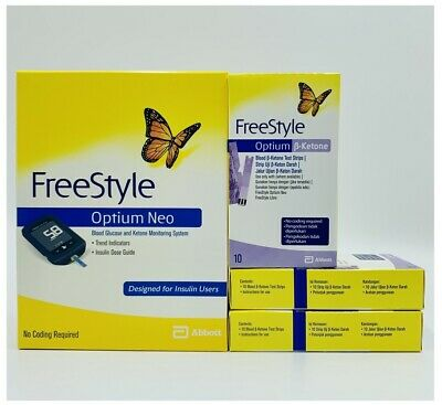 Abbott Freestyle Optium Neo Meter + 3x Boxes Ketone Test Strips