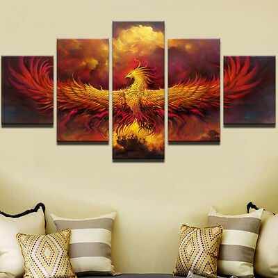 Fire Phoenix Bird Abstract Painting 5 Piece Canvas Print Wall Art