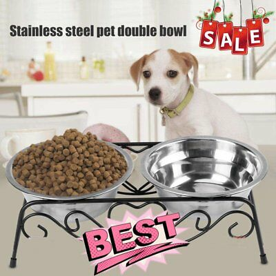 Double Stainless Steel Cat Dog Puppy Pet Water Food Feeder Dish Bowl with Stand
