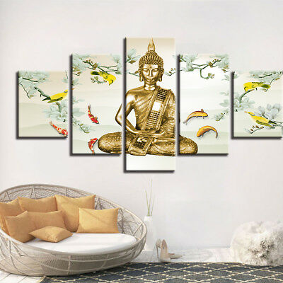 Buddha Meditation Painting 5 Piece Canvas Print Wall Art Poster