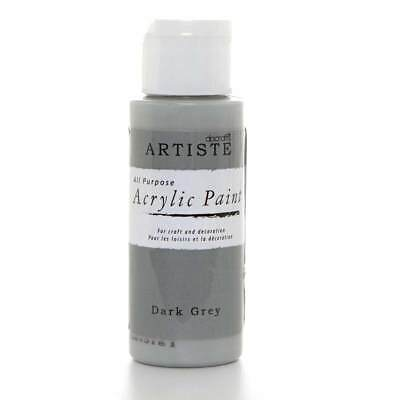 DoCrafts Artiste Dark Grey Acrylic Craft Paint - 59ml / 2oz Bottle