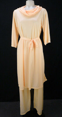 Vintage 60s Peach Pajama Set Size L Pants & Long Belted Tunic Nightgown