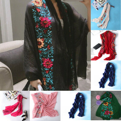 Women Large Embroidered Cotton Floral Scarf Pashmina Shawl Wrap Scarves
