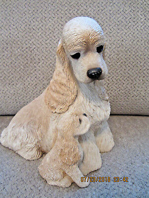 "Sandicast Cocker Spaniel dog with puppy statue figurine 7.75"" tall solid heavy"
