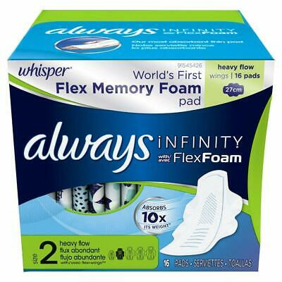 Always Infinity Heavy Flow Maxi Pads W/Flexi-Wings, Unscented 16 Ct (Pack Of 6)
