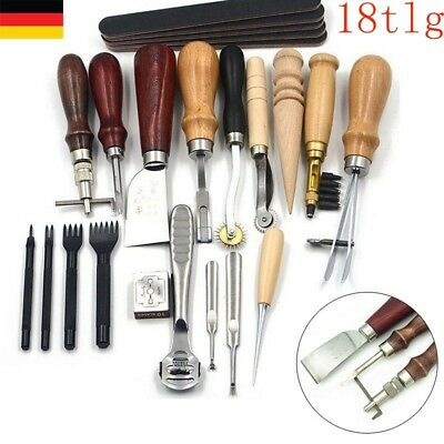 NEU 18pcs Leder Werkzeug Ledernadeln Stitching Craft Hand Sewing Groover Kit Set