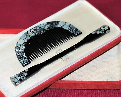 ANTIQUE JAPANESE Hair Comb Vintage RADEN 1900s KUSHI KANZASHI Kimono JAPAN a328