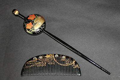 Vintage JAPANESE ANTIQUE Hair Comb Set 1900s KUSHI KANZASHI KIMONO JAPAN a361