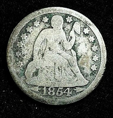 1854 10 Cent with Arrows Liberty Seated Dime US Silver Coin ***