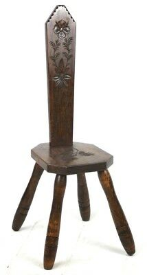 Antique Carved Oak Spinning Chair - FREE Shipping [PL4529]