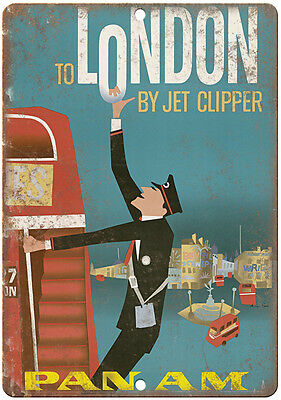 """Paris By Clipper vintage travel ad 10"""" x 7"""" reproduction metal sign"""