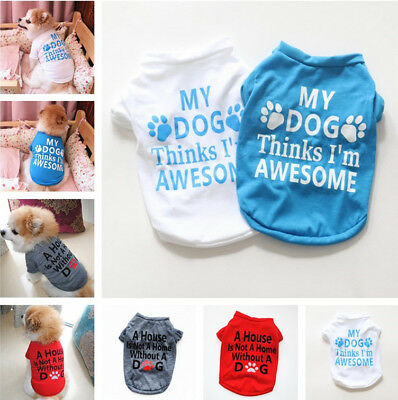 Cute Letters Patterned Summer Pet Vest Puppy Small Dog T-Shirts Cat Pet Clothes