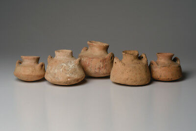 Collection of 5 Ancient Holy Land Pottery Vessels Iron Age c.1200 BC
