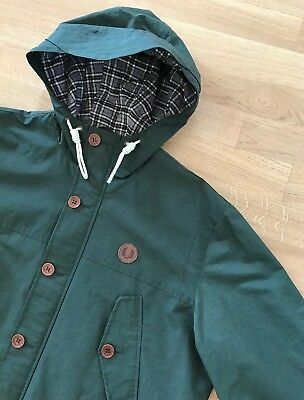 FRED PERRY GREEN HOODED MOUNTAIN PARKA JACKET XL mod casuals weller waterproof