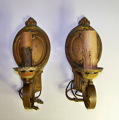 Pair Of Vintage Antique Art Deco Wall Sconces