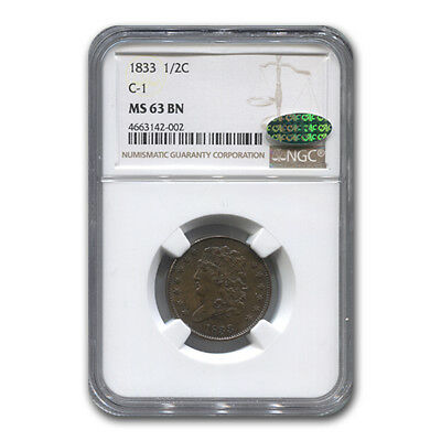 1833 Half Cent MS-63 NGC CAC (Brown, C-1) - SKU#171933