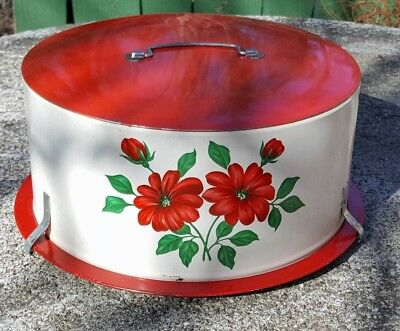Decoware cake pie carrier red white tin floral server latch lid carry handle MCM