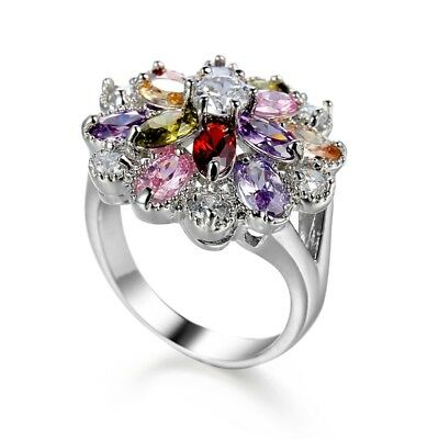 Woman Colorful Crystal Rhinestone Silver Ring Wedding Flower Ring Size 6-10 New