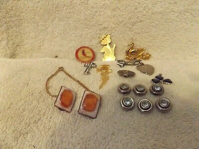 Vintage Jewelry--16 Assorted Jewelry Items & Ear Rings--Very Nice--Great Patina