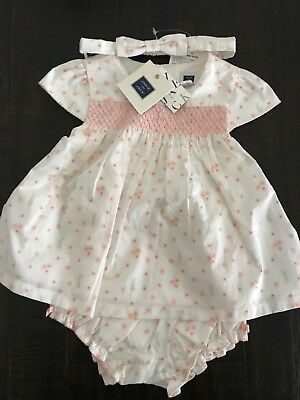 NWT Janie and Jack floral bunny dress set with matching headband 6-12 months