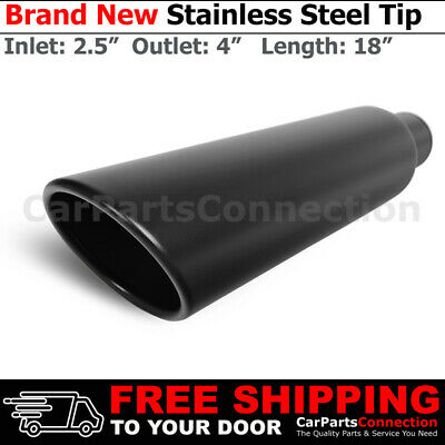 2 Stainless Truck Angled Black 18 inch Weld On Exhaust Tip 2.5 In 4 Out 202107