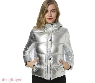 Women's Shiny Hooded Down Coat Jacket Thick Padded Slim Outwear Winter Warm New