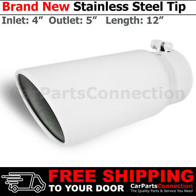 Stainless Truck Angled Polished 18 inch Bolt On Exhaust Tip 4 In 8 Out 199264