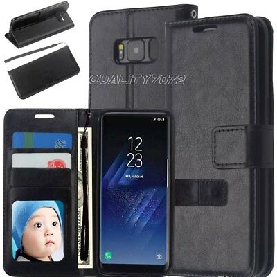 Samsung S8 S9 Plus S7 Note 9 J4 J3 J6 A6 A8 Slim Leather Flip Wallet Case Cover