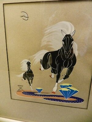 Orig. Navajo Adee Dodge Tempera Gouache Horse Painting,1960,sgnd,'clocked'