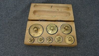 (B1) ANTIQUE BRASS WEIGHT SET FOR SCALE 8 PCS. 20DK to 1dkg - 200 gram to 10 g