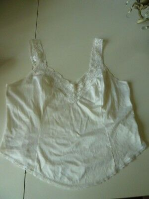Vintage St Michael[M&s] Ivory White Camisole - Size 14~Lace To Straps&front