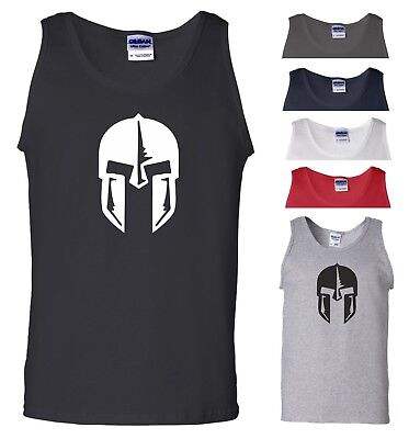 Spartan Helmet Vest Gym Bodybuilding Fitness MMA UFC Workout Gift Men Tank Top