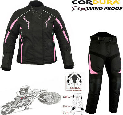 Ladies Pink Speed Hawk Womens Slim Fit Motorbike Motorcycle Jacket Trousers Suit