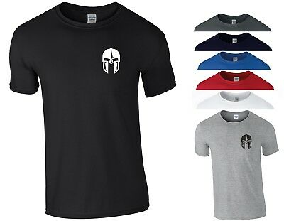 Spartan Helmet T Shirt Pocket Gym Bodybuilding Fitness MMA Workout Gift Men Top