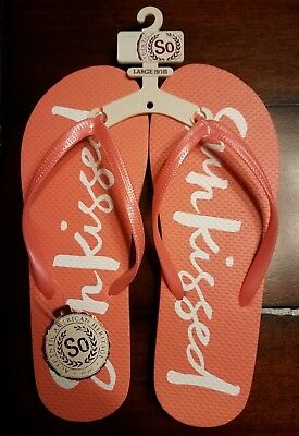 b325f07f75758f WOMENS SO FLIP Flops Sandals Size Large 9 10 Coral Sunkissed NWT ...